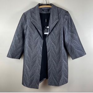 Ming Wang Open Front Feather Print Jacket Blazer